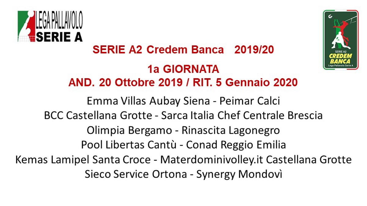 Fiera Bergamo Calendario.A2 Credem Banca Il Calendario 2019 20 Volleyball It